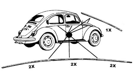 Lišty karosérie Alu/kit - Typ 1 (1952 » 62)