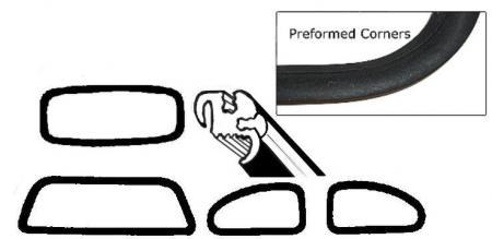 Těsnění skel pro lišty OE/kit - Typ 1 (1977 »)