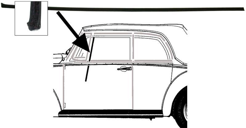 Sametka stahování skla dveří/ventilace - T.1 Cabrio (» 1980)