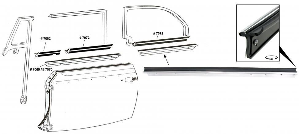 Sametka skla vnější/zadní L - T.1 Cabrio (1964 » 80)