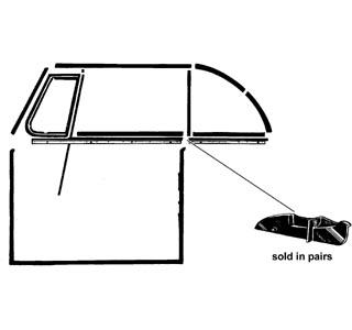 Mezikusy stahování skla dveří/zadní L/P - T.1 1303 Cabrio (1972 » 80)
