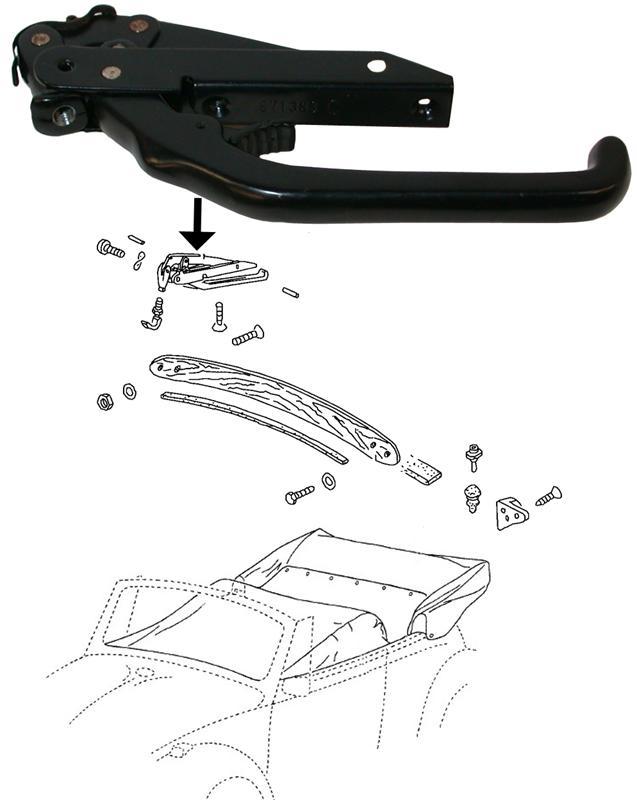 Zámek zavírání střechy L/P - Typ 1/14/Golf Cabrio (1967 »)