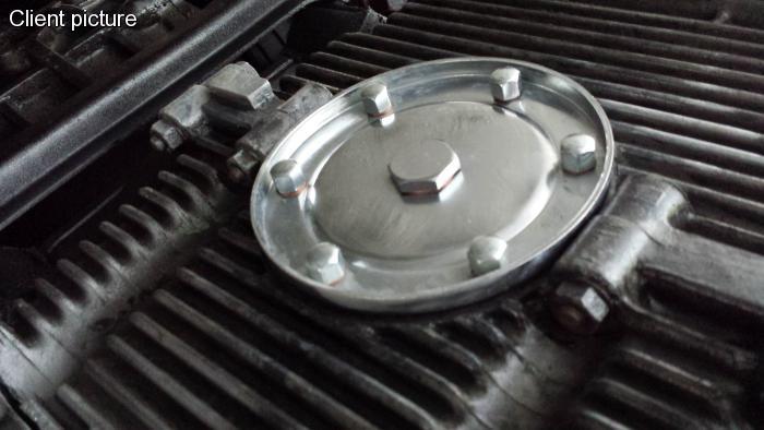 Víko motoru chrom/výpust oleje - Typ 1/3/CT/CZ motory (1960 » 03)