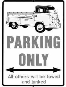 Cedule parkovací plast/červená (VW Bus)
