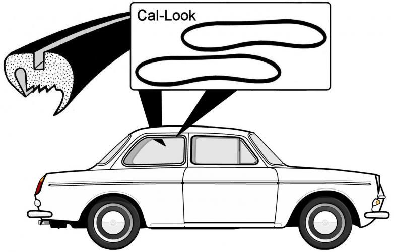Těsnění skel Cal-look/boční - Typ 3 (Notchback)