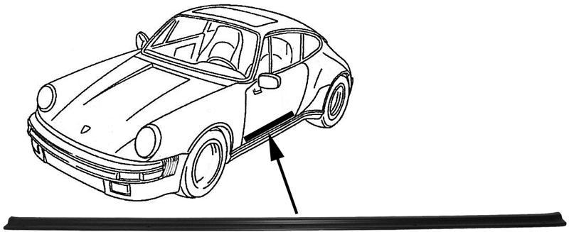 Lišta boční L/P černá - Porsche 911/964 (1977 » 93)