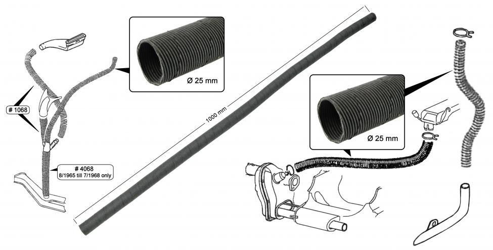 Hadice topení/24.5x1000mm - Typ 1/3 (1963 »)