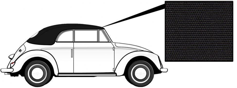 Čalounění střechy/černé plátno - T.1 Cabrio (1966 » 72)