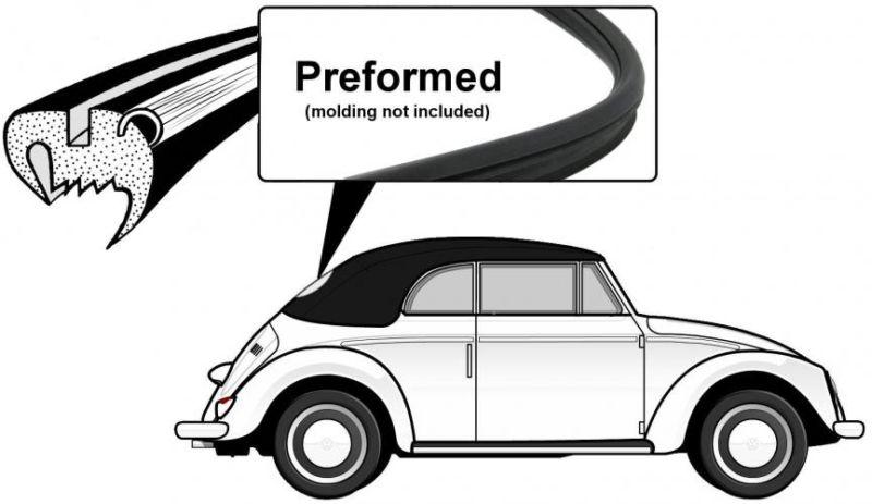 Těsnění skla pro lištu OE/zadní - T.1 Cabrio (1952 » 57)