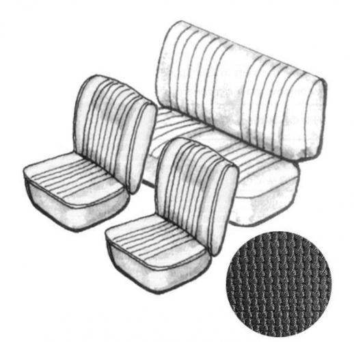 Potahy sedadel/černý vinyl/kit - T.1 Cabrio (1967 » 72)