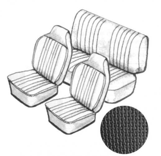 Potahy sedadel/černý vinyl/kit - T.1 Cabrio (1967 » 69)