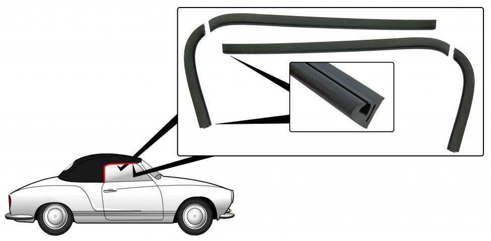 Těsnění skel dveří L/P - T.14 Cabrio (1957 » 74)