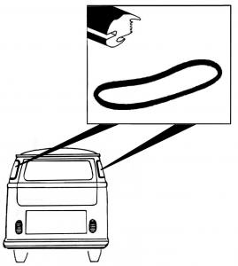 Těsnění skla OE/zadní roh L/P - Typ 2 (» 1963)