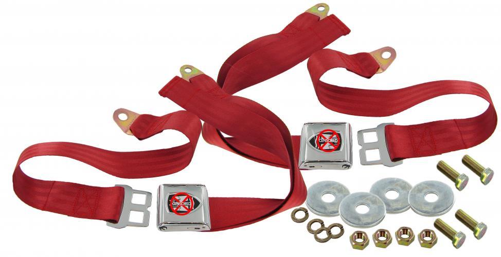Pásy bezpečnostní břišní/červené/znak Wolfsburg - Typ 1/2/3/14/181 (1964 »)
