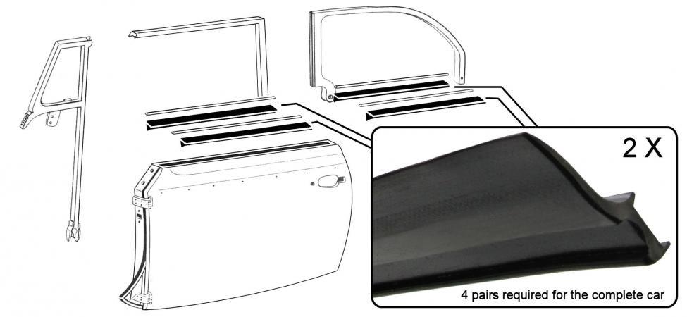 Sametky stahování skla/vnitřní/vnější/přední/zadní - T.1 Cabrio (1952 » 64)