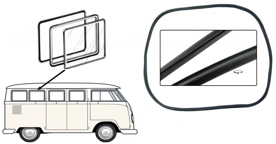 Těsnění rámu a skla/boční výklopné okno - Typ 2 (» 1967)