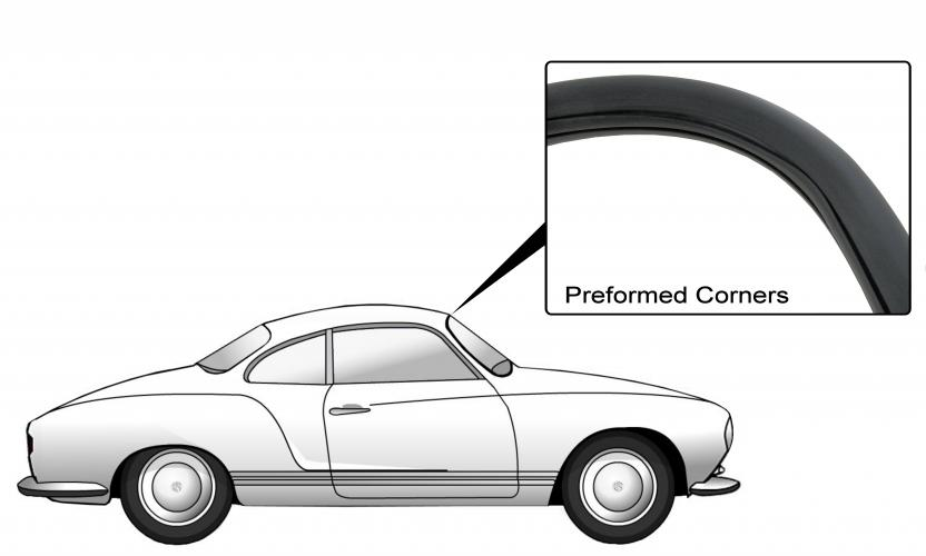 Těsnění skla pro lištu OE/přední - Typ 14 (1955 » 67)