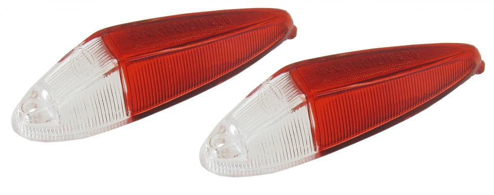 Skla obrysových světel/přední čirá/červená - Typ 3/34 (1961 »)