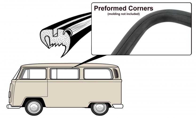 Těsnění skla pro lištu/boční středové/ventilace - Typ 2 (1967 » 71)