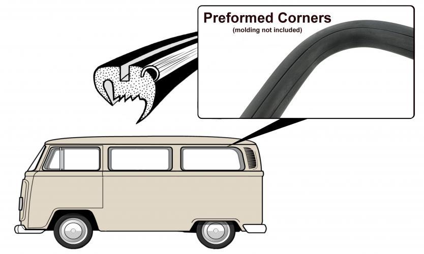 Těsnění skla pro lištu/boční zadní - Typ 2 (1967 » 71)