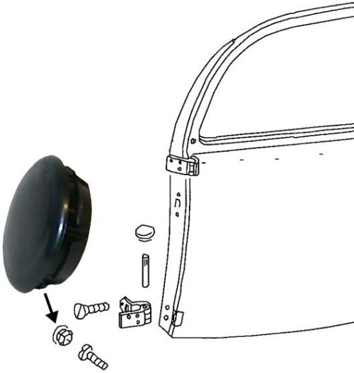 Záslepka sloupku pantu dveří/černá L/P - Typ 1 (1960 » 03)