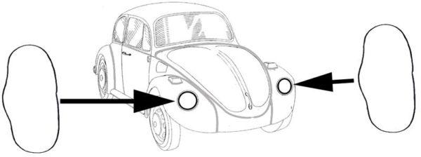 Těsnění mezi blatník/světlomet/pár - Typ 1 (1967 ») Typ 3/181 (vše)