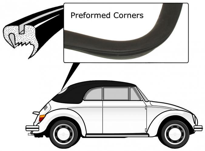 Těsnění skla pro lištu/zadní - T.1 1303 Cabrio (1974 » 80)