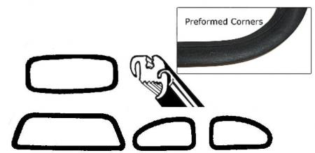 Těsnění skel pro lišty OE/kit - Typ 1 (1957 » 64)