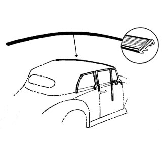 Těsnění/přední rám skla střechy - T.1 Cabrio (1967 »)